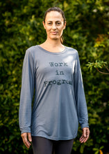 Load image into Gallery viewer, Organic Bamboo girls L/S t-shirt : Work in Progress, Stone/DK Teal
