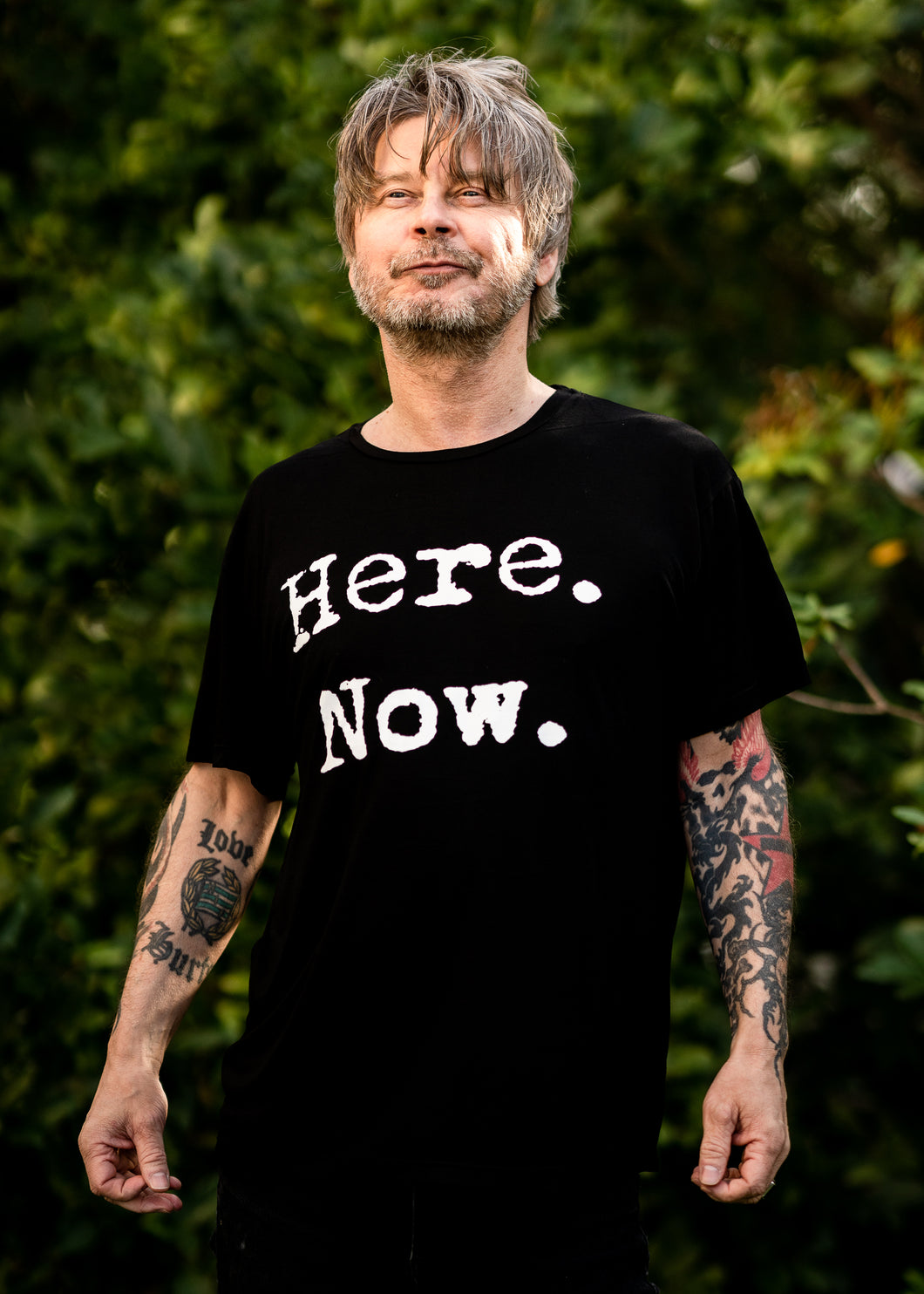 Organic Bamboo t-shirt : Here. Now print, Black.