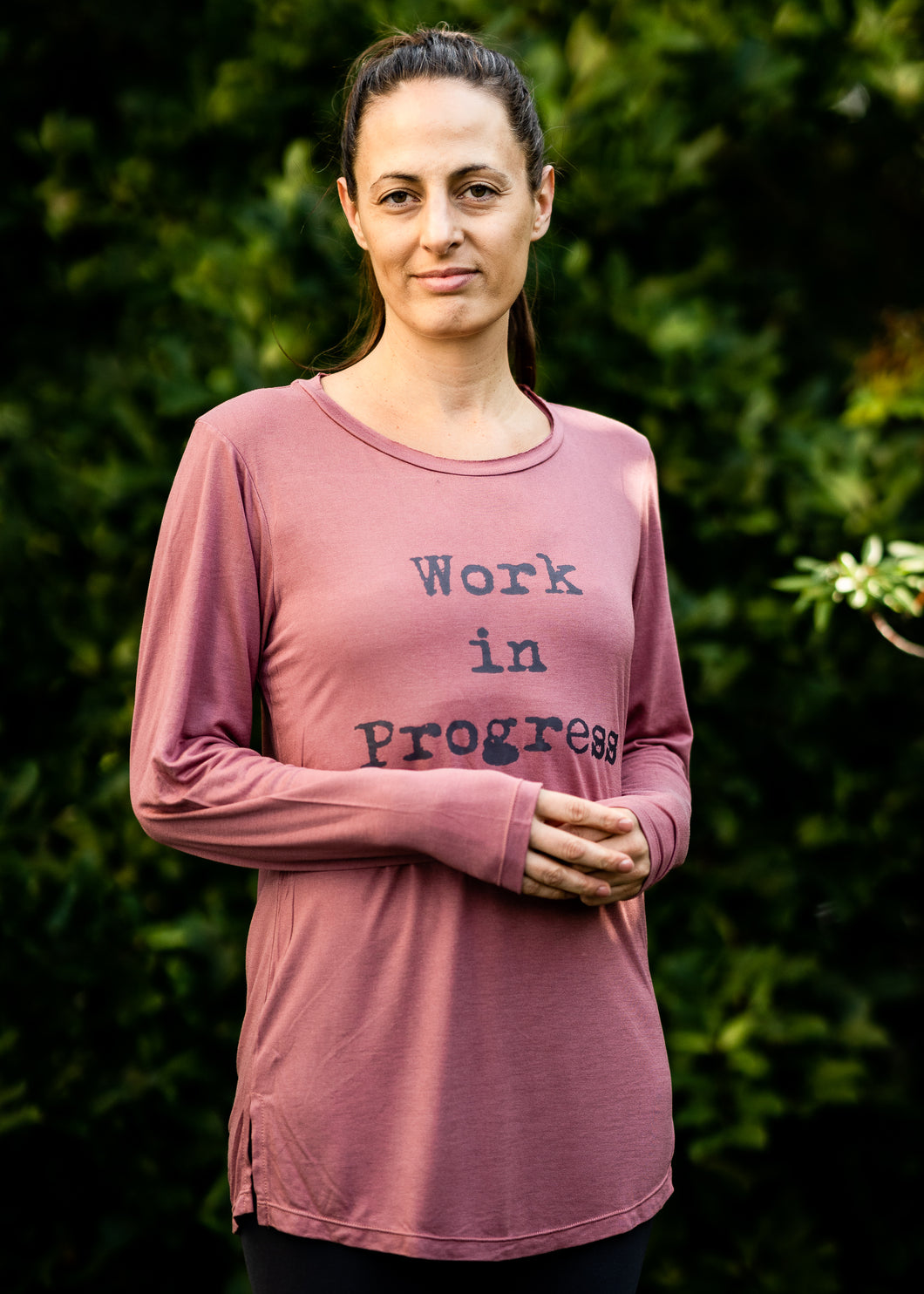 Organic Bamboo girls L/S t-shirt : Work in Progress, Rose /Dk Grey