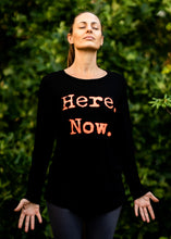 Load image into Gallery viewer, Organic Bamboo girls L/S t-shirt : Here. Now. Black/ Orange