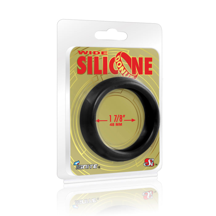 Si-95129 COCK RING - WIDE SILICONE DONUT - BLACK (1.88 in/48mm)
