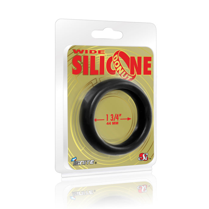 Si-95130 COCK RING - WIDE SILICONE DONUT - BLACK (1.75 in/44mm)