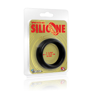 Si-95131 COCK RING - WIDE SILICONE DONUT - BLACK (1.5 in/38mm)