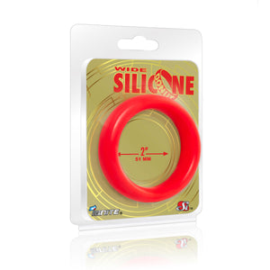 Si-95138 COCK RING - WIDE SILICONE DONUT - RED (2.0 in/51mm)