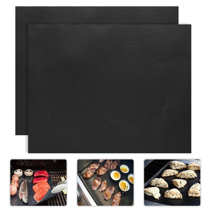 2 Pack: Non Stick BBQ Grilling Mats
