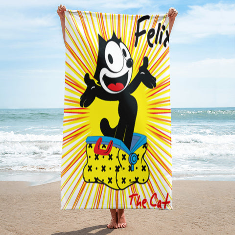 Crazy cat Full Printed Beach Towel