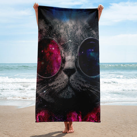 Cool Cat Full Printed Beach Towel