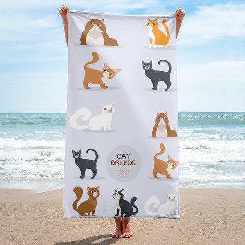 Cat Breeds Full Printed Beach Towel
