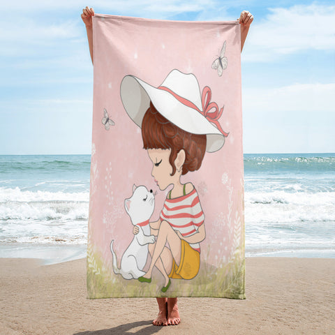 Cat with Cute girl Full printed Beach towel