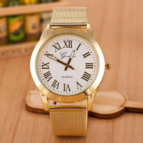 Geneva Men Roman Numerals Quartz Stainless Steel Wrist Watch