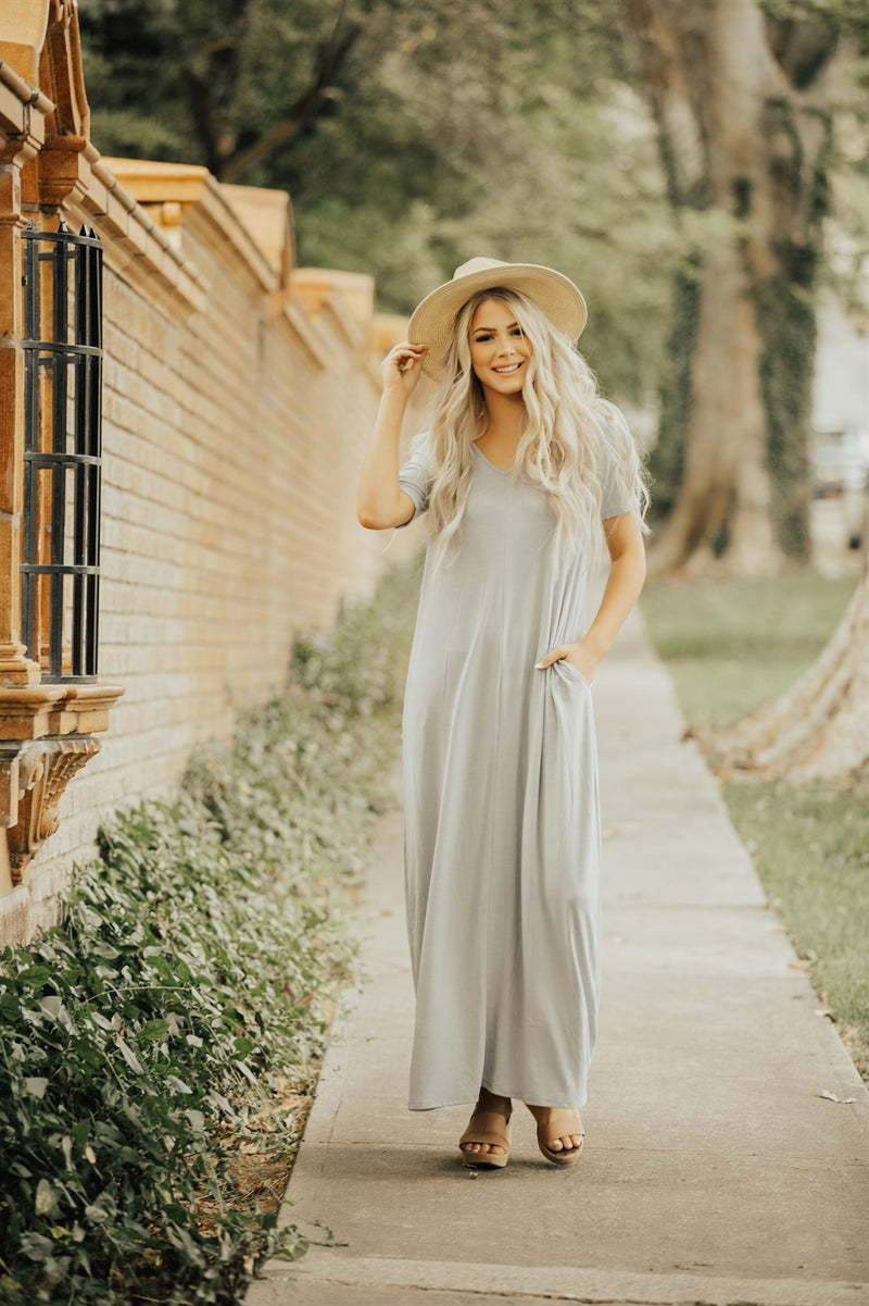 Loose Fit Maxi Dress with Pocket Detail