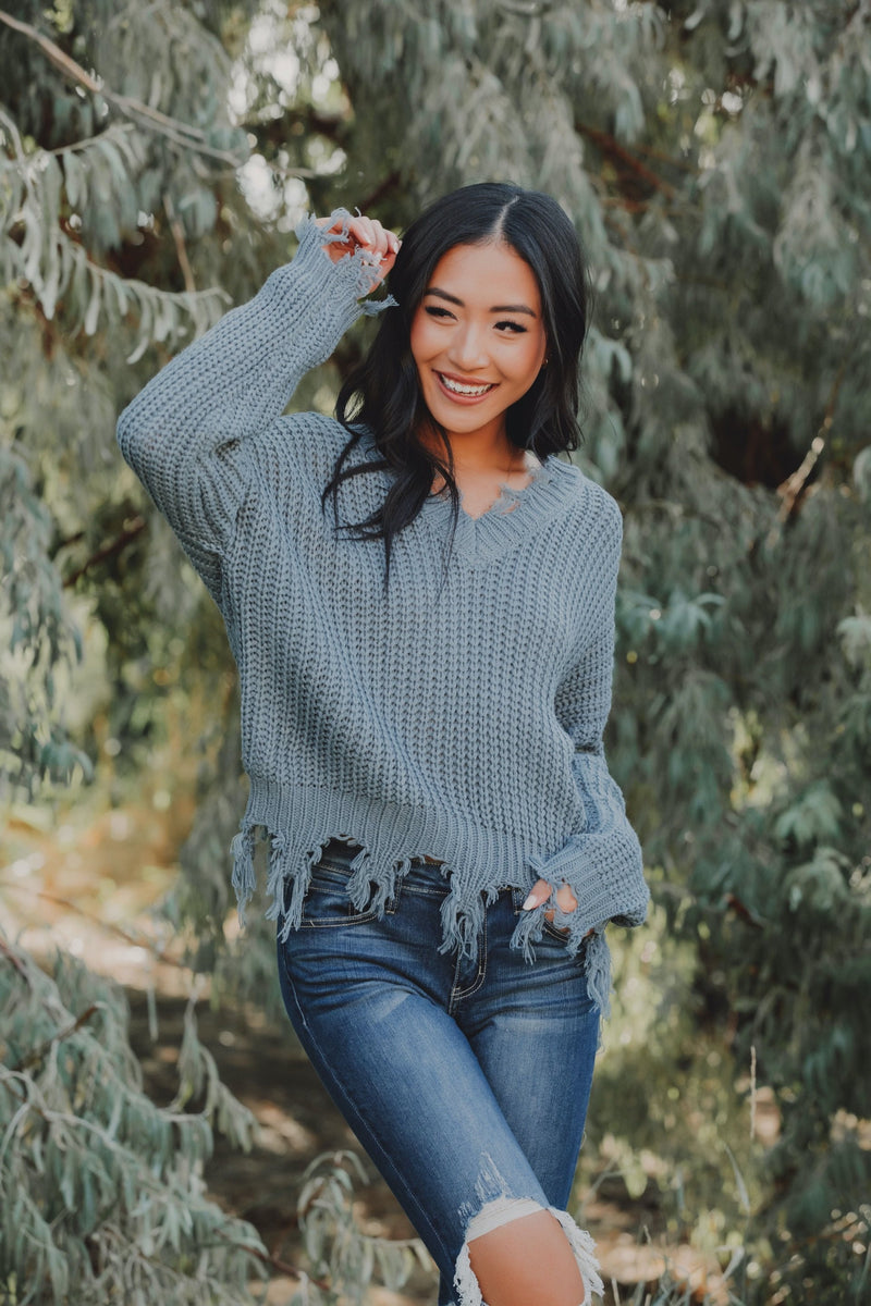 On The Fringes Sweater // Dusty Blue