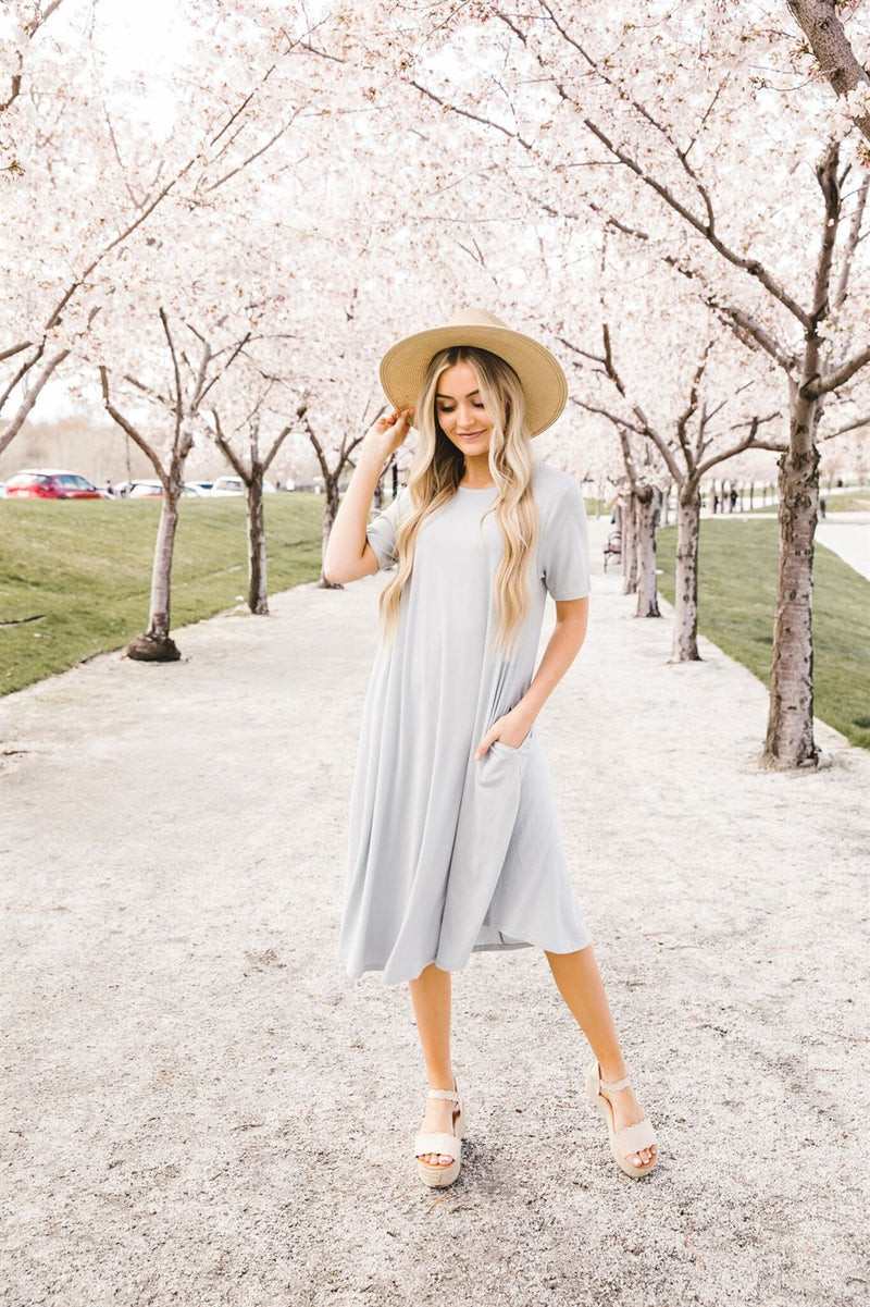 Draped Pocket Midi Dress