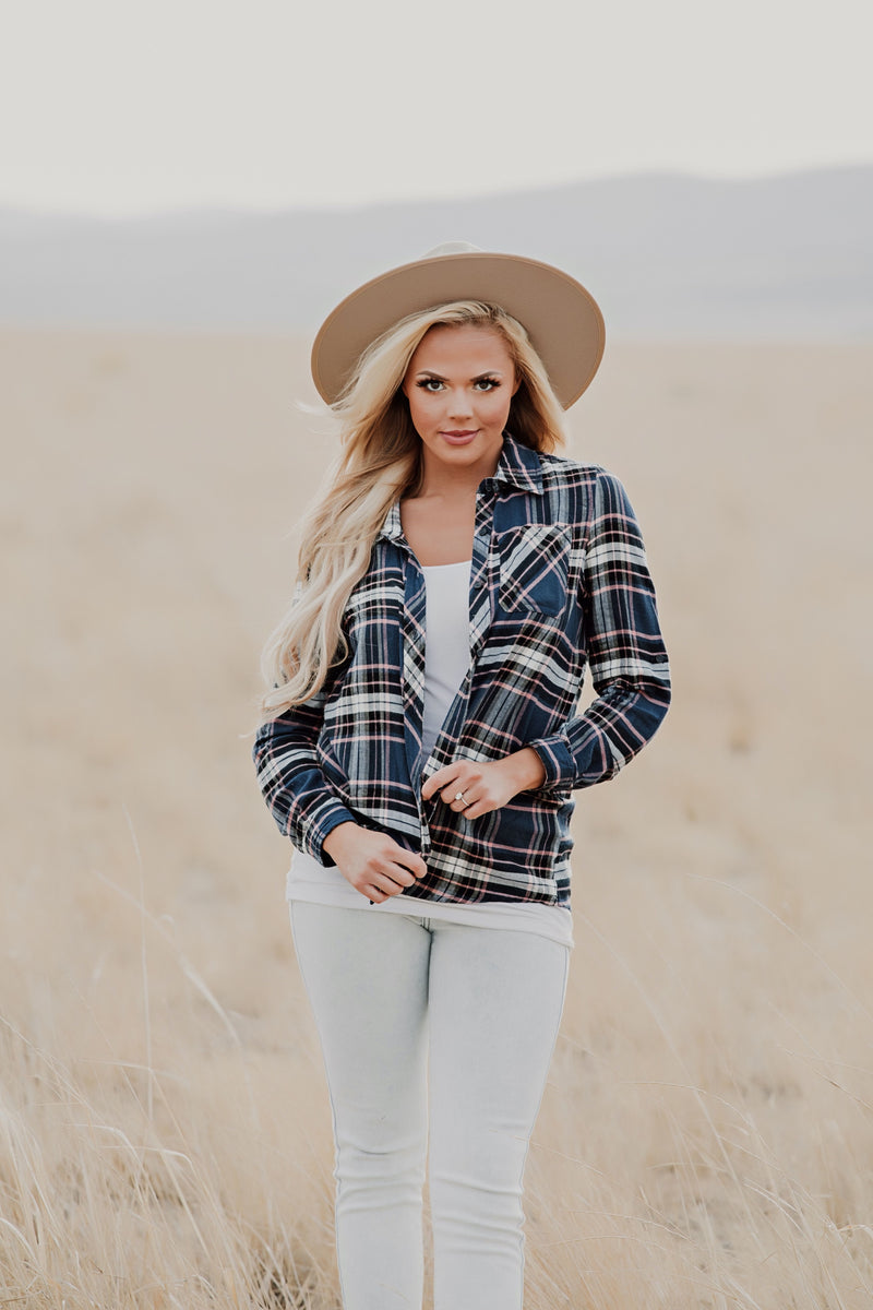 Plaid To Be Here Top