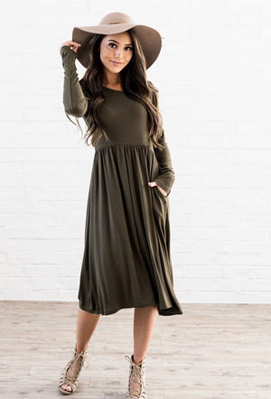 Empire Pocket Midi Dress