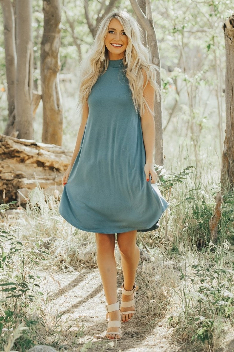 Mock Neck Sleeveless Dress