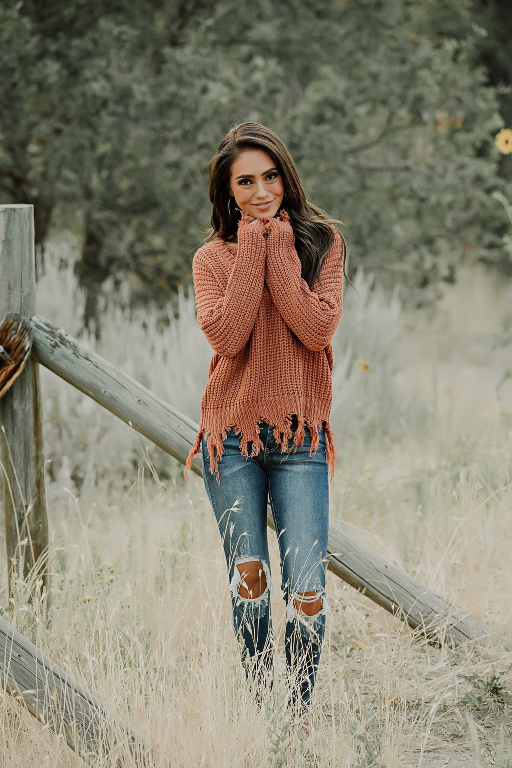 On The Fringes Sweater // Rust