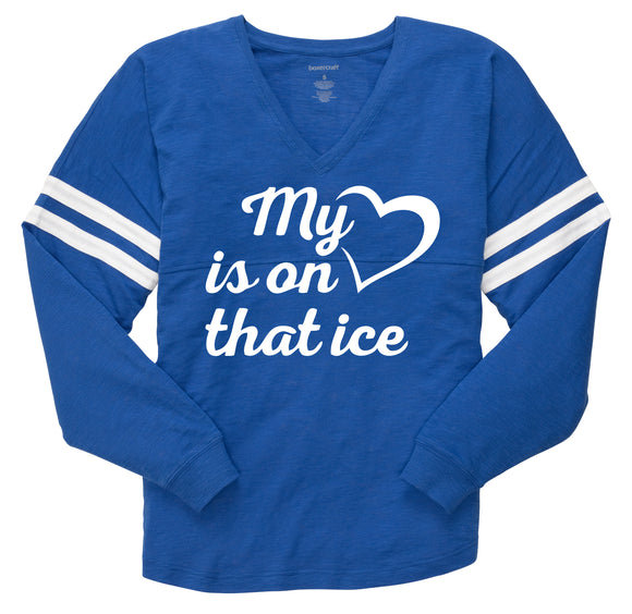 My Heart is on that Ice Ladies' V-slub Pom Pom Jersey