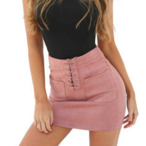Lace-up Pencil Cross High Waist Mini Skirt Zipper Split - shoppingridge