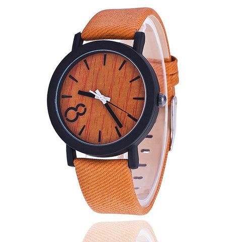 Single Number Wooden Leather Quartz Watch