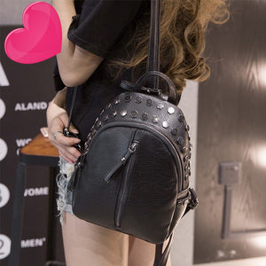 Women's Rivet Zipper Pu Leather Backpacks