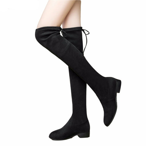 Women's Square Low Heel Boots/Knee High Boots - shoppingridge