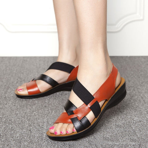 Leather Casual Wedges Shoes/Sandals For Women - shoppingridge