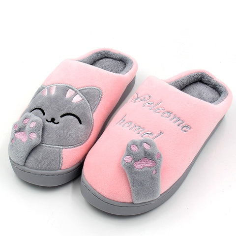 Women's Cartoon Cat Printed Soft Non-Slip Home Slippers - shoppingridge