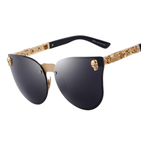 Fashion Skull Frame Metal 100% UV-400 Protection Sunglasses