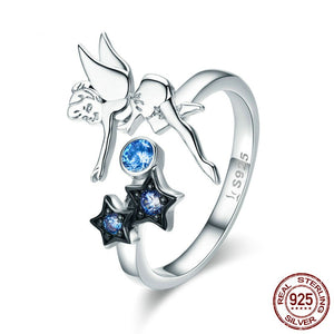 Star Luminous 925 Sterling Silver Ring for Women