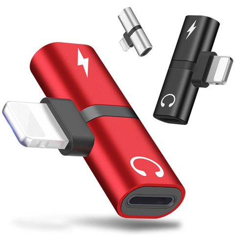 2 In 1 Dual Ports Headphone Adapter and Charger for iPhone - shoppingridge