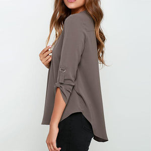 Women V-neck Chiffon Blouses - shoppingridge