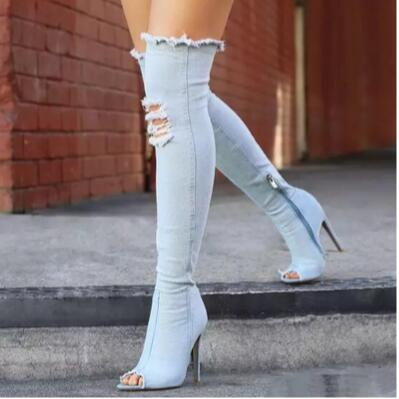 High Quality Tight Stretch Over The Knee Jean Boots - shoppingridge