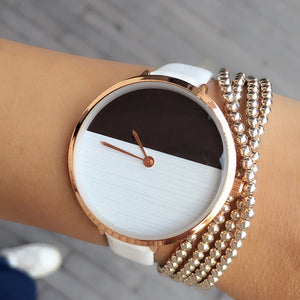 Two Color Wooden Style Simple Dial Watch - shoppingridge