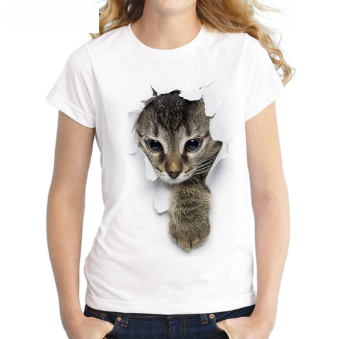Naughty Cat Printed O-Neck Short Sleeve T-Shirt for Women