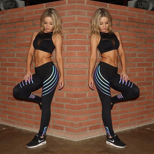 Fitness Women Slim High Waist Elasticity Leggings - shoppingridge