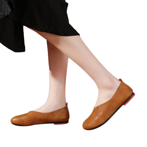 Hand-Sewn Genuine Leather Flat Shoes /Loafers for Women