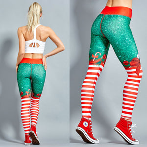 Elastic High Waist Merry Christmas Leggings - shoppingridge