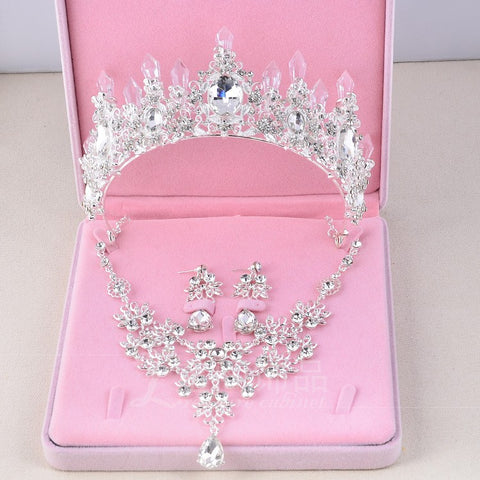 3PCS/Set Crystal Rhinestone Bridal Jewelry Sets - shoppingridge