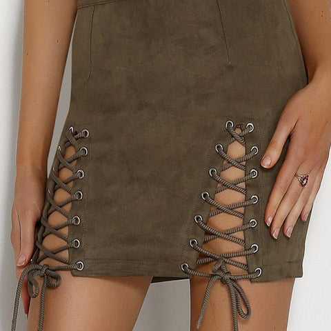 Leather Cross Zipper High Waist Pencil Skirt For Women - shoppingridge