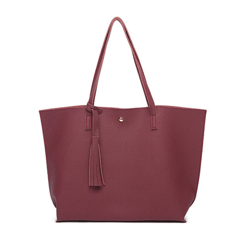 Solid PU Leather Zipper Women Hand Bag