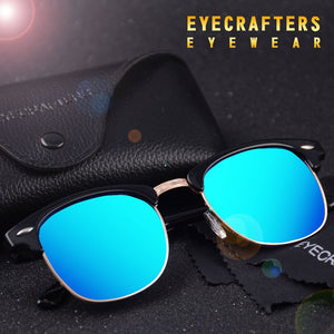 Half Frame Horned Semi-Rimless Fashion Sunglasses - shoppingridge