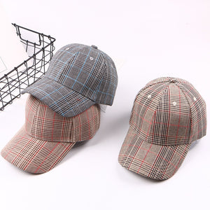 Fashion Summer Adult Men & Women's Solid Plaid Baseball Caps - shoppingridge