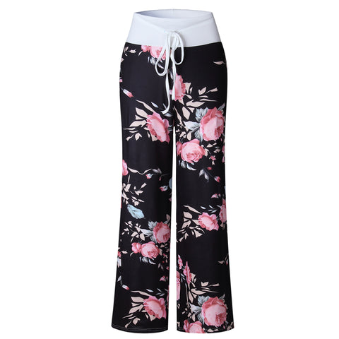 Women's Flower Print Drawstring Wide Leg Pants &Trousers - shoppingridge