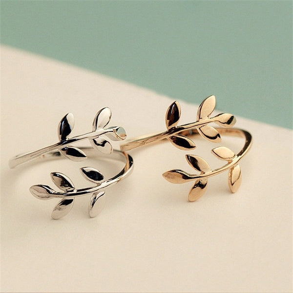 Two Colors Olive Tree Branch Leaves Open Ring - shoppingridge