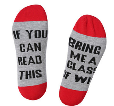 Women's Casual Wine Text Printed Socks - shoppingridge