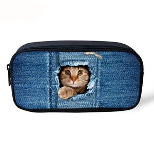 Make Up Cosmetic Bags-3D Denim  Cat & Dog Pencil Pouch
