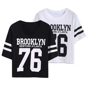 "Fashion Crop ""BROOKLYN 76"" Printed  High Quality T-Shirt"