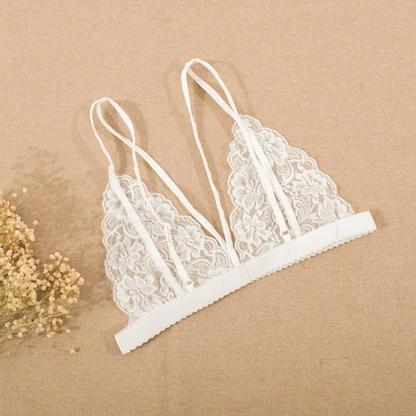 Very Hot Floral Lace Transparent Cup Wireless Bras - shoppingridge