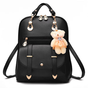 Bear Female School Bags For Girls/  PU Leather Backpack For Women